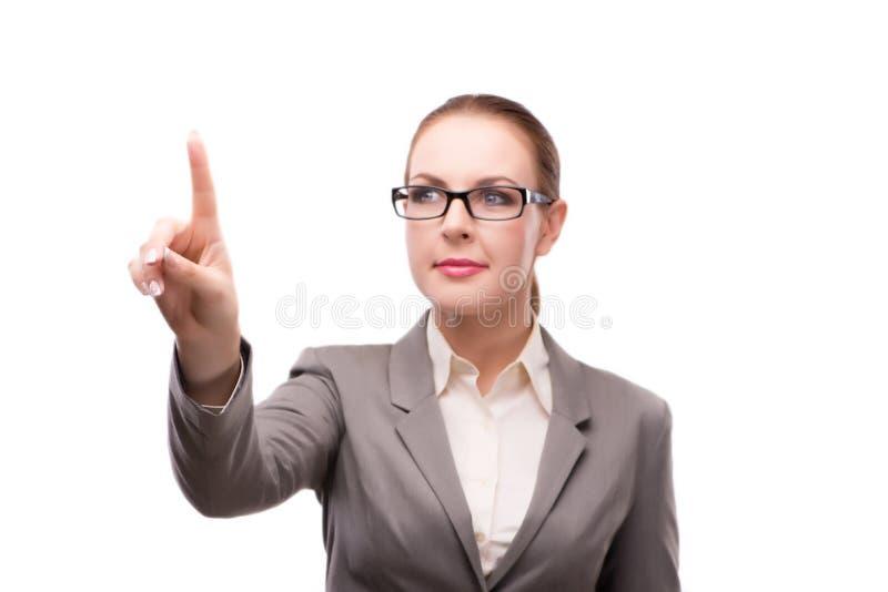 Den strikta allvarliga affärskvinnan som isoleras på vit arkivbilder