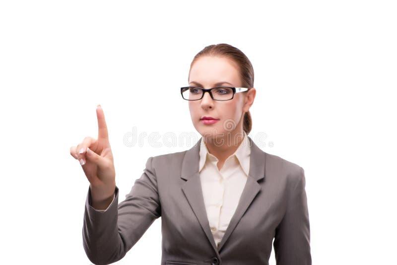 Den strikta allvarliga affärskvinnan som isoleras på vit arkivbild