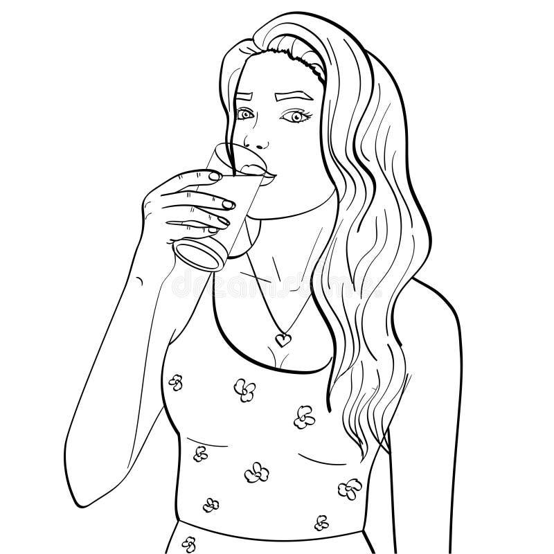 Den sunda kvinnan dricker mjölkar från ett exponeringsglas för objektbana för bakgrund clipping isolerad white Bokfärgläggning fö stock illustrationer