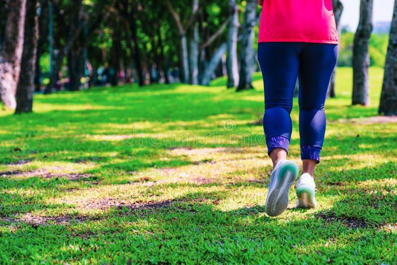 Den sunda livsstilkvinnalöparen som joggar på härlig sommardag i den offentliga gräsplanen, parkerar Kondition- och genomk?rareWe royaltyfri fotografi