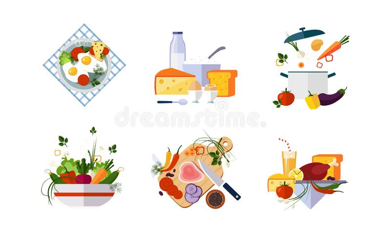 Den sunda uppsättningen för organisk mat, bantar den meny-, mejeri-, grönsak- och köttproduktvektorillustrationen på en vit bakgr vektor illustrationer