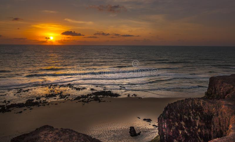 Den Sunrice pipaen, Tibau gör Sul - Rio Grande Do Norte, Brasilien arkivfoton