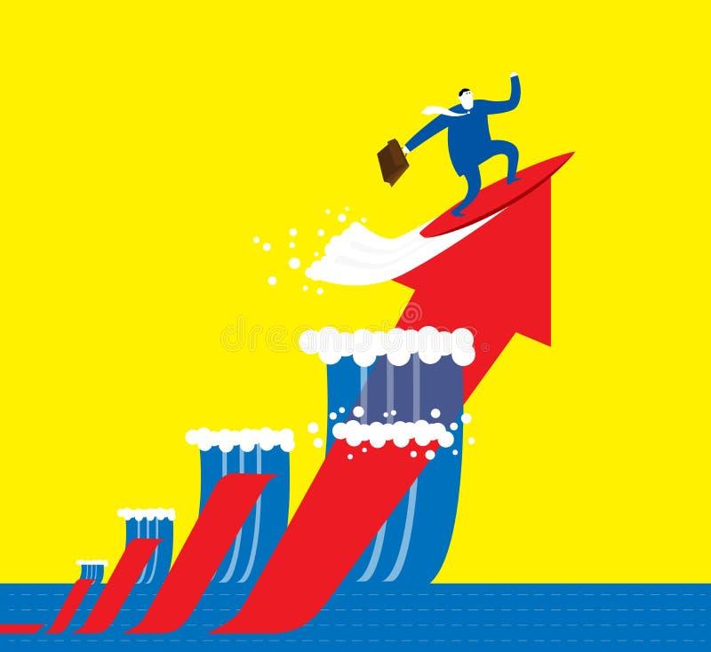 Den surfa affärsmannen arkivbild
