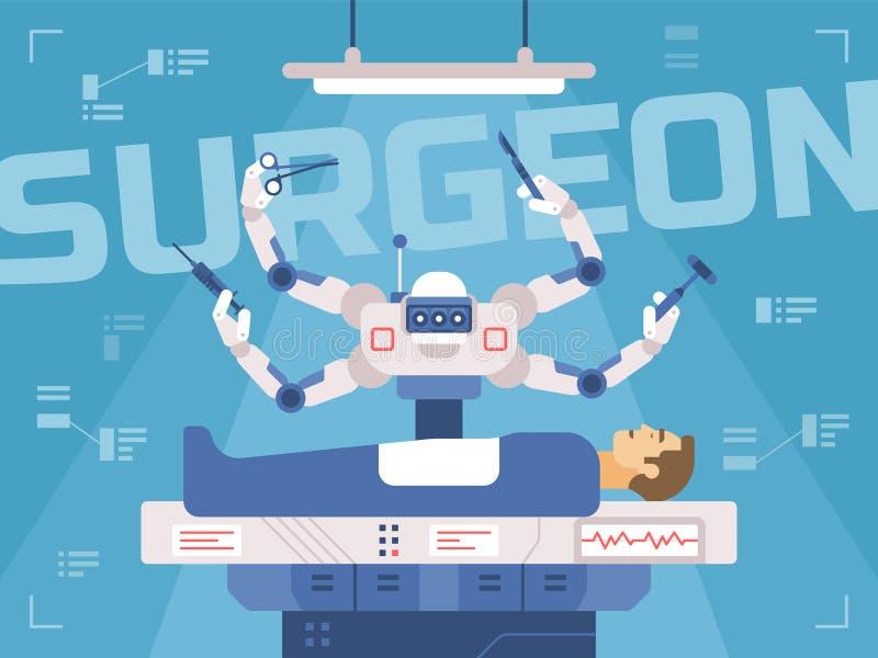 Den Surgicl roboten utför kirurgi på en man vektor illustrationer