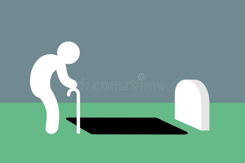 Den svaga åldriga gamala mannen står nära det allvarliga hålet i kyrkogård och kyrkogård vektor illustrationer
