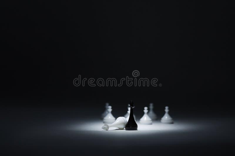 Den svart konungen bredvid den besegrade vitkonungen, vit pantsätter på baksidaen arkivbild