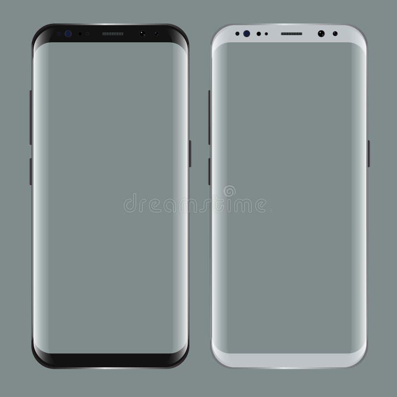 Den svart smartphonen med tomt avskärmer Den realistiska modellen 3d för ställer ut dina app-projekt vektor illustrationer