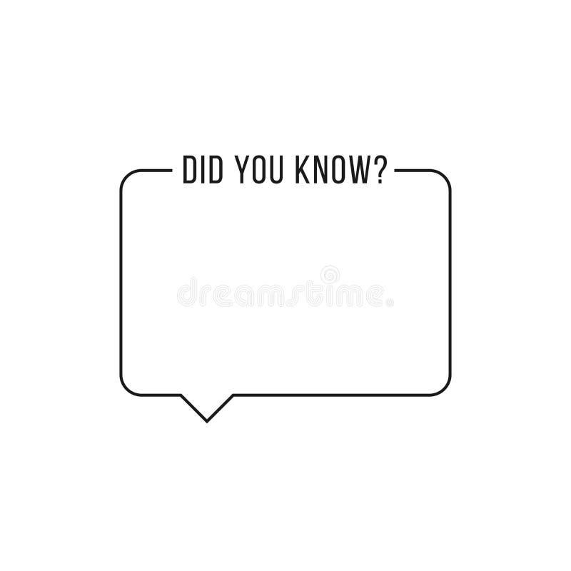 Den svarta översiktsramen med visste du text Begrepp av under, roligt faktum eller intresserakunskap Plan moderiktig logotypbestå stock illustrationer