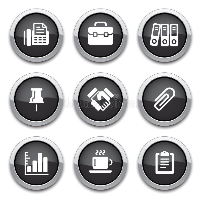 den svarta affären buttons kontoret vektor illustrationer