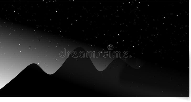 Den svarta bergkonturn är en vektorillustration med den skinande stjärnan stock illustrationer