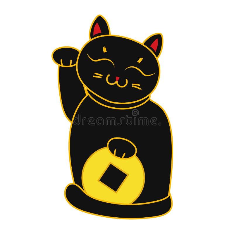 Den svarta den Maneki nekoen/necoen med myntet, en katt med lyftt tafsar det japanska lyckasymbolet, illustration, royaltyfri illustrationer