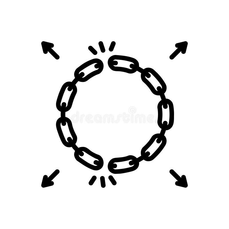 Den svarta fasta symbolen för avskildhet, kedjar fast och förbinder vektor illustrationer