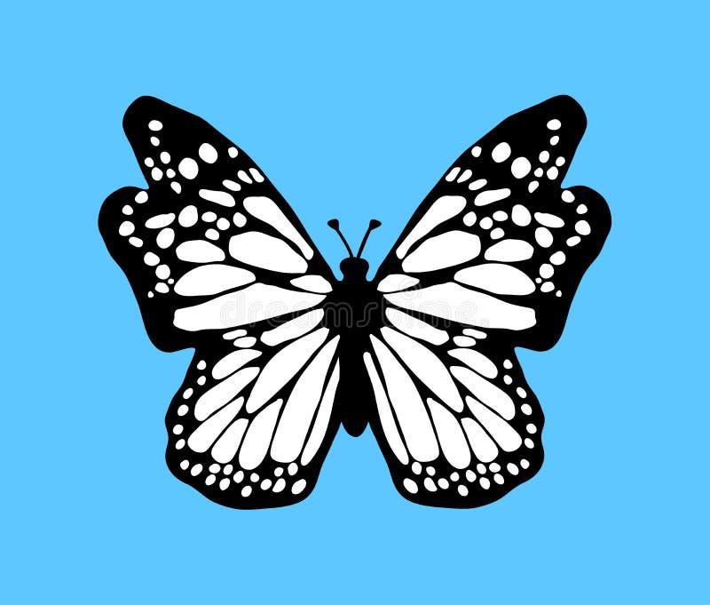 Den svarta fjärilssymbolen med vit påskyndar på blå bakgrund Tatto vektorillustration royaltyfri illustrationer