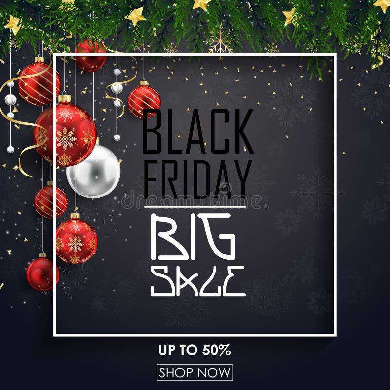 Den svarta fredag försäljningsaffischen med röd jul klumpa ihop sig, och gran förgrena sig på svart bakgrund stock illustrationer