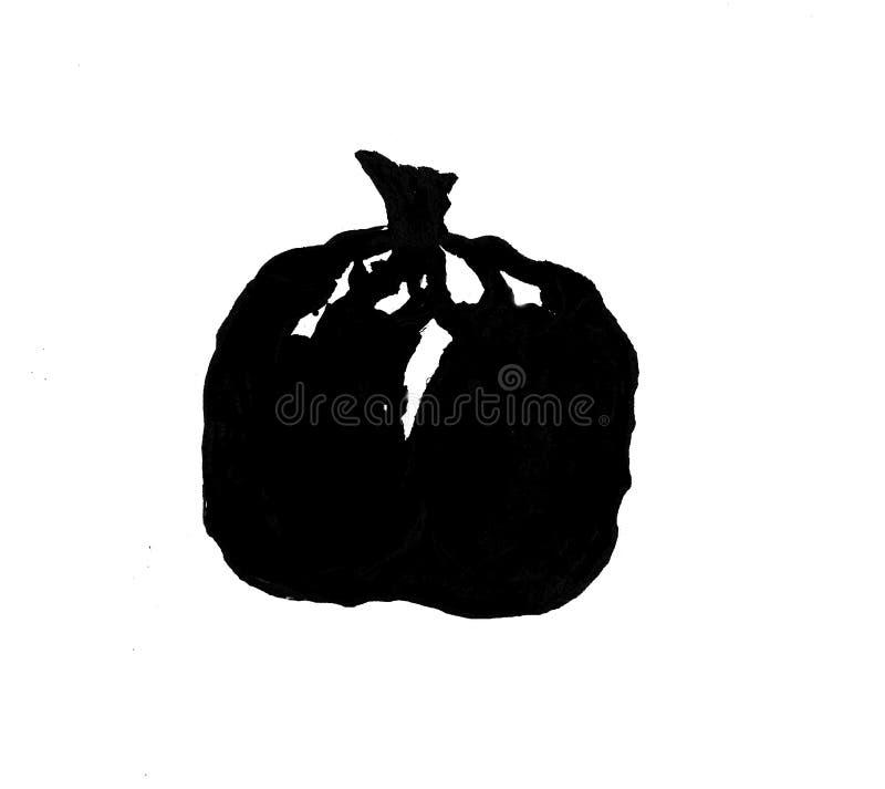 Den svarta granatevattenfärgen som isoleras på vit bakgrund, skissar höst royaltyfri illustrationer