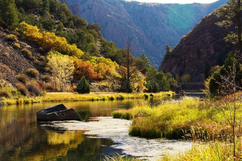 Den svarta kanjonen av Gunnisonen parkerar i Colorado, USA royaltyfri bild
