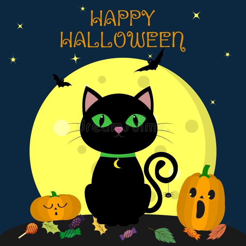 Den svarta katten för allhelgonaaftonen sitter mot fullmånen på natten Närliggande är två pumpor, sötsaker och sidor, flyktiga va stock illustrationer