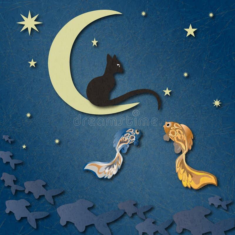 Den svarta katten sitter på månen, och lås fiskar bland stjärnklar himmel vektor illustrationer