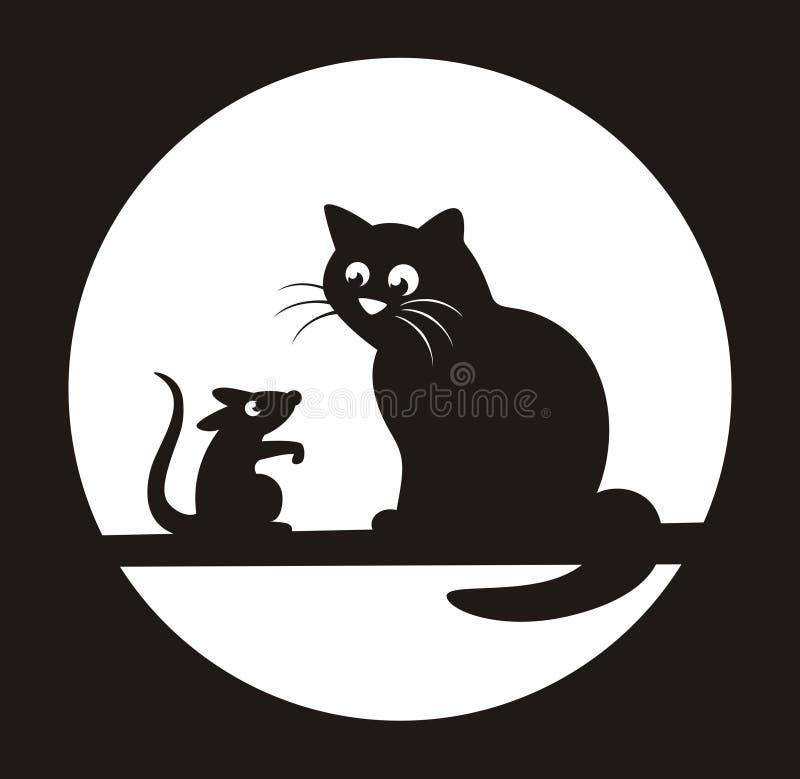 den svarta katten tjaller royaltyfri illustrationer