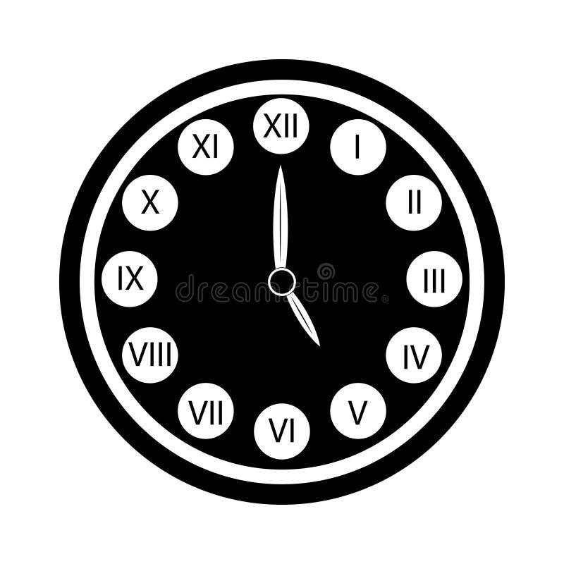 Den svarta klockan med symbolen för roman tal isolerade klocka fem o royaltyfri illustrationer