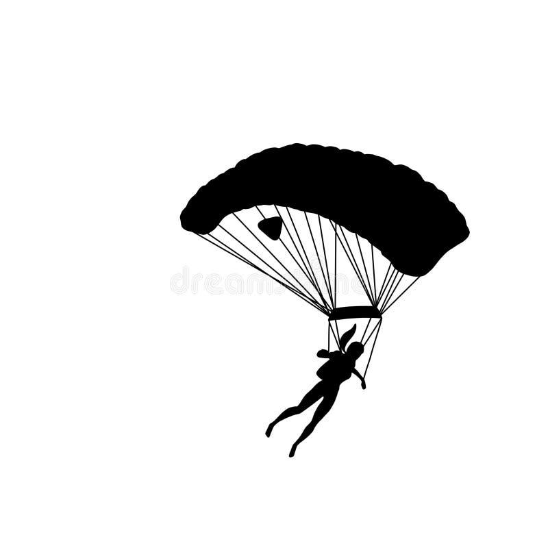 Den svarta konturn av en flicka med hoppa fallskärm stock illustrationer