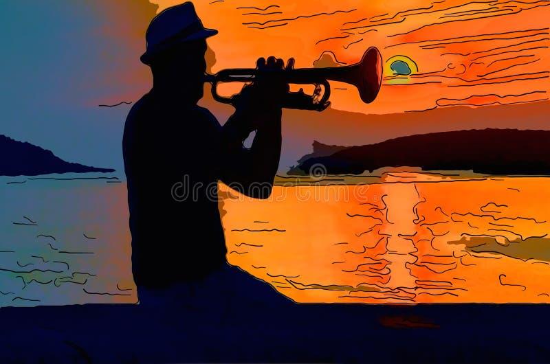 Den svarta konturn av en musiker som spelar på en trumpet between stock illustrationer