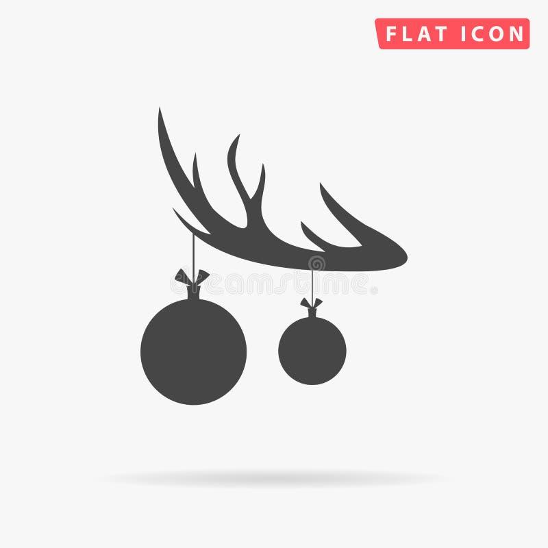 Den svarta konturn av hjorthornet med horn på kronhjort och med leksaken för julträdet klumpa ihop sig på horn plan symbol för ve stock illustrationer
