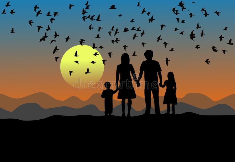 Den svarta konturn, föräldrar, sonen och dottern står på solnedgången Det finns fåglar som flyger i himlen stock illustrationer