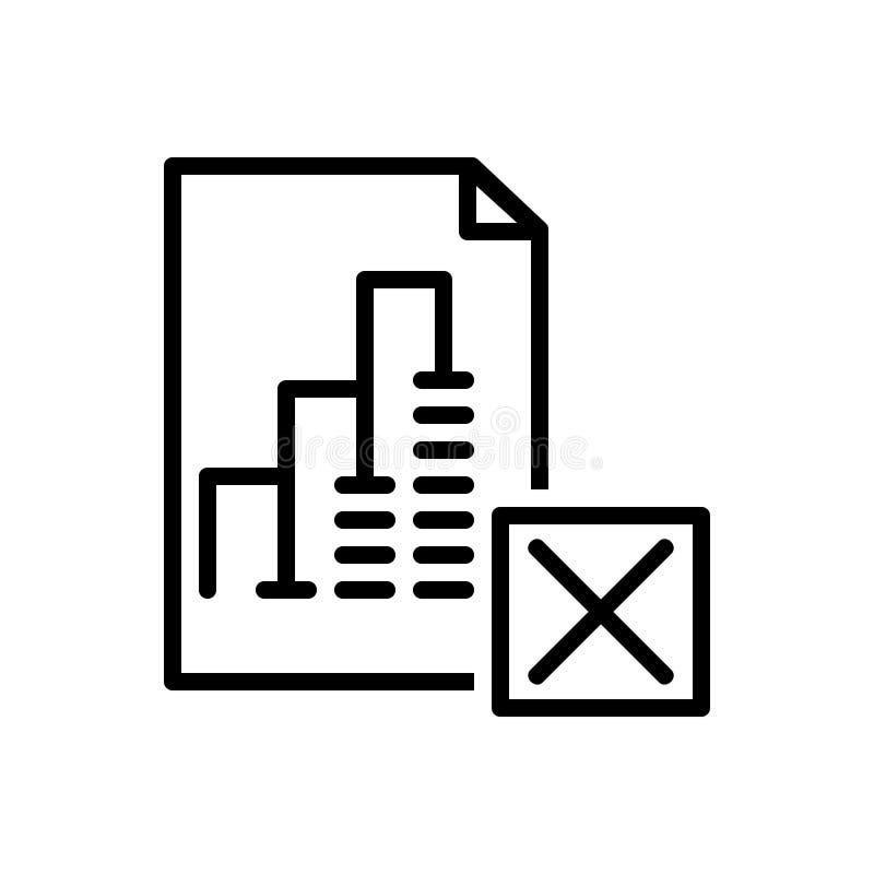 Den svarta linjen symbolen för rapporten Delet, avbryter och avfärdar vektor illustrationer