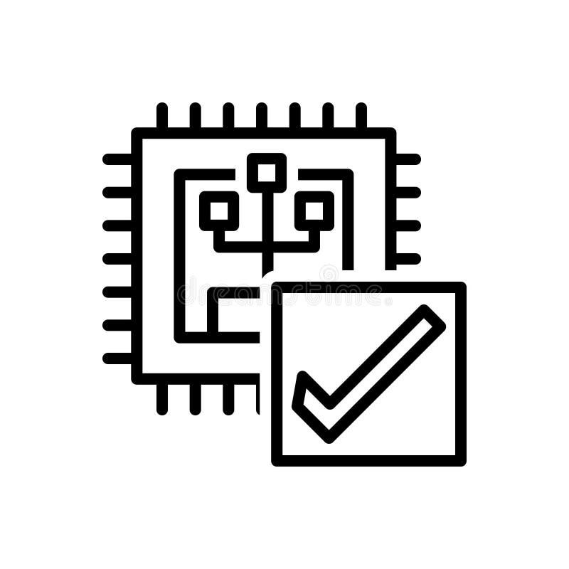 Den svarta linjen symbolen för Verify, kalibrerar och frågar vektor illustrationer