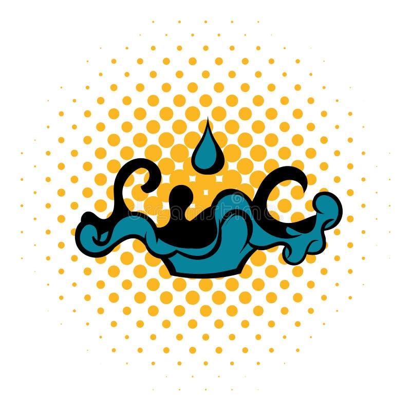 Den svarta olje- dropp- och spillsymbolen, komiker utformar stock illustrationer