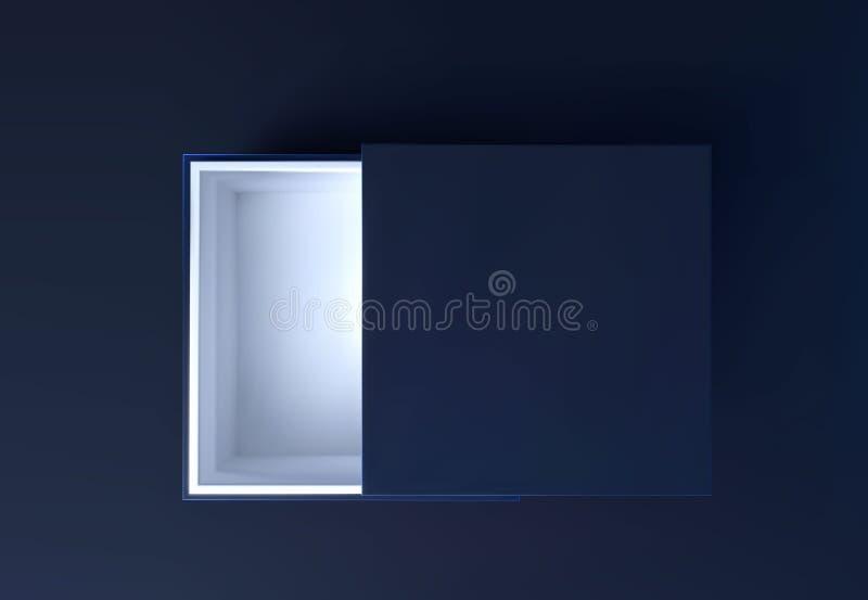 Den svarta presentlådans övre vymodell uppåt Julmall för öppnad låda Insamling av lyxförpackningar i svart bakgrund 3d stock illustrationer