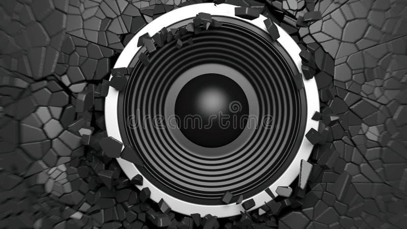Den svarta solida högtalaren på svart knäckte väggbakgrund illustration 3d stock illustrationer