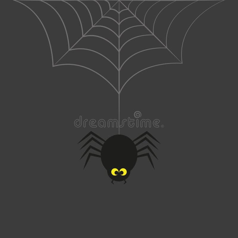 Den svarta spindeln med guling synar hängningar på spindelnät på en grå bakgrund stock illustrationer
