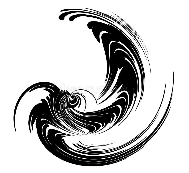 den svarta spiralen virveer wispy royaltyfri illustrationer