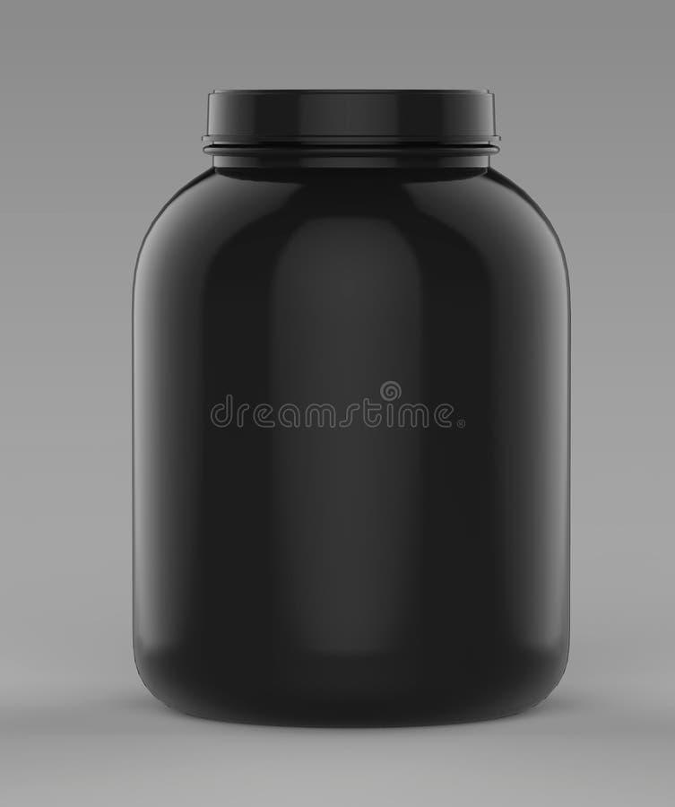 Den svarta tomma tomma behållaren för pulver för protein eller för gaineren för skruvöverkantframdel badar och skorrar klart för  vektor illustrationer