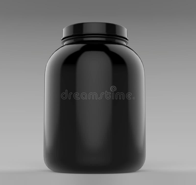 Den svarta tomma tomma behållaren för pulver för protein eller för gaineren för skruvöverkantframdel badar och skorrar klart för  royaltyfri illustrationer