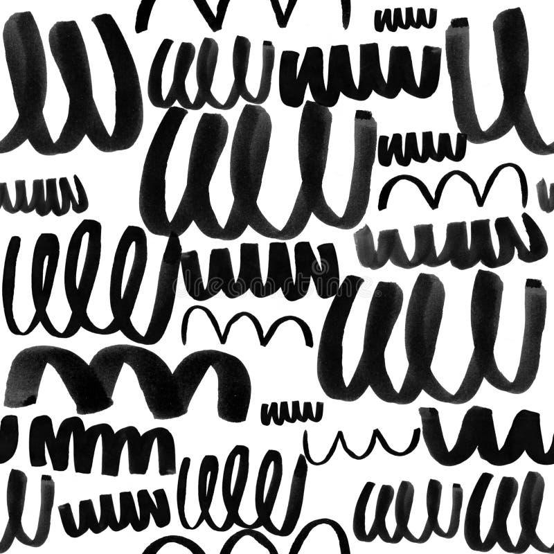DEN SVARTA VATTENFÄRGBORSTEN SLÅR KLOTTER OCH KLOTTRAR BAKGRUND vektor illustrationer
