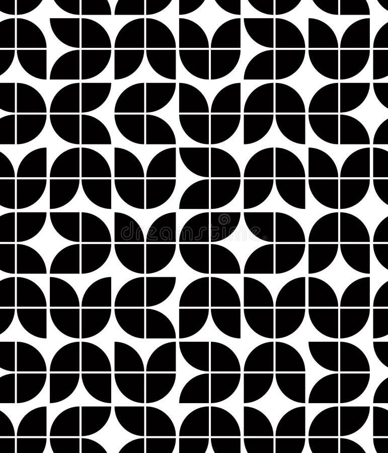Den svartvita abstrakta geometriska sömlösa modellen, kontrasterar beträffande stock illustrationer