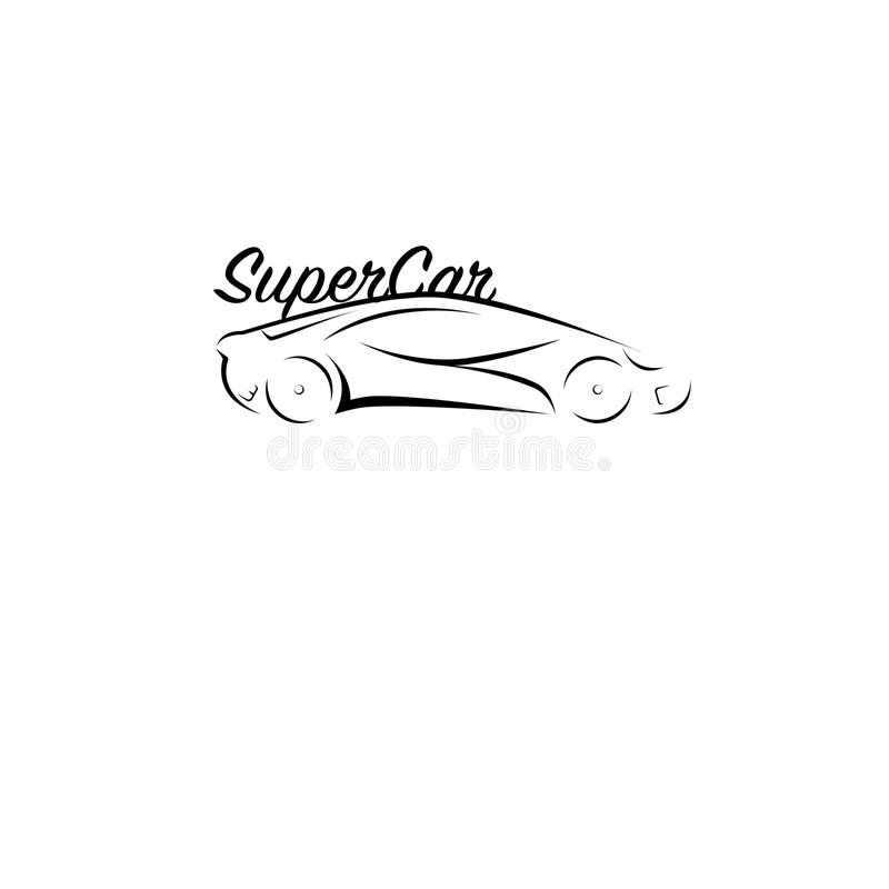 Den svartvita bilen skissar royaltyfri illustrationer