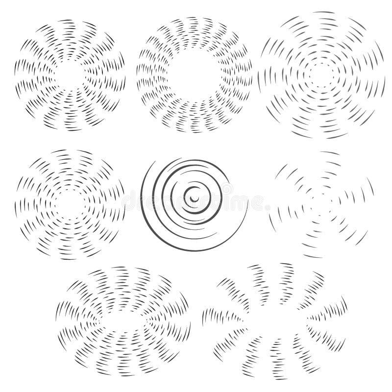 Den svartvita effekten av den roterande fanpropellern Vektorvalet av runda designbeståndsdelar på vit isolerade bakgrund vektor illustrationer