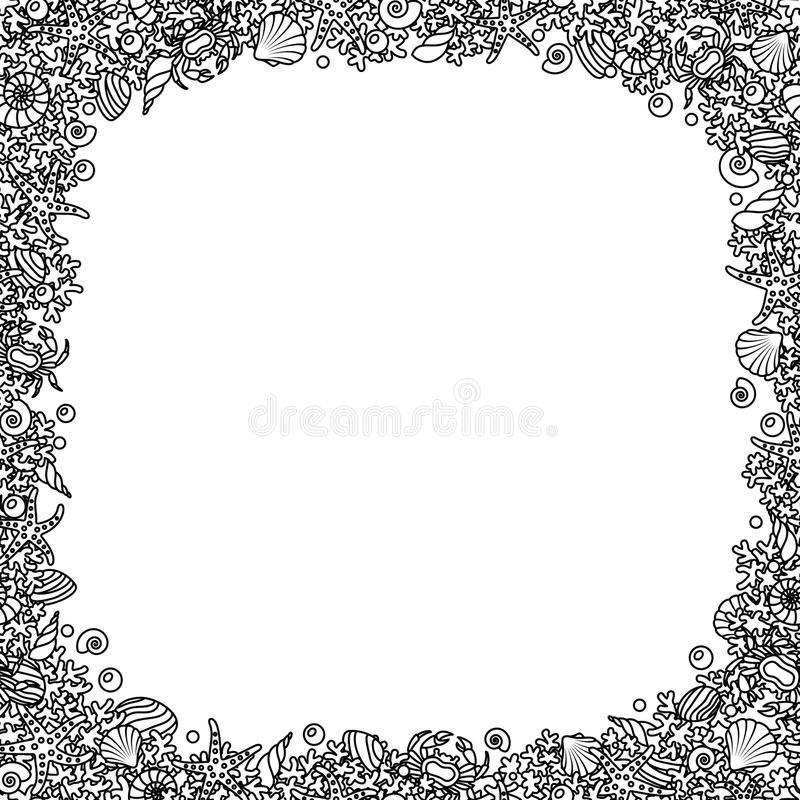 Den svartvita fyrkantiga sömlösa vektorramen från översiktsbilder av korall, havet beskjuter och fångar krabbor vektor illustrationer