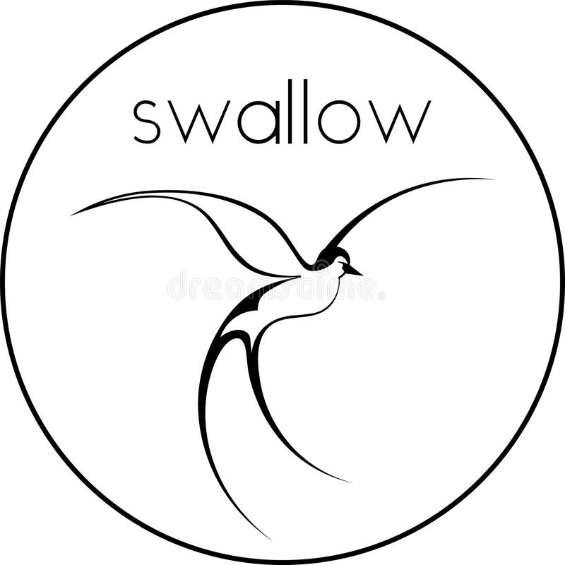Den svartvita konturen av en logo för minimalist för flygsvalasvala stock illustrationer