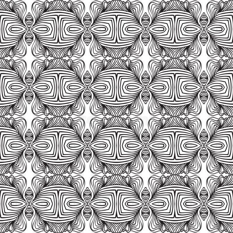 Den svartvita linjära art déco mönstrar stock illustrationer