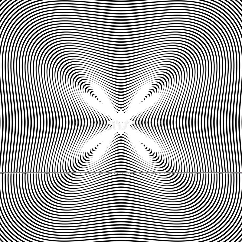 Den svartvita moiren fodrar, gjorde randig psykedelisk vektorbackgro royaltyfri illustrationer