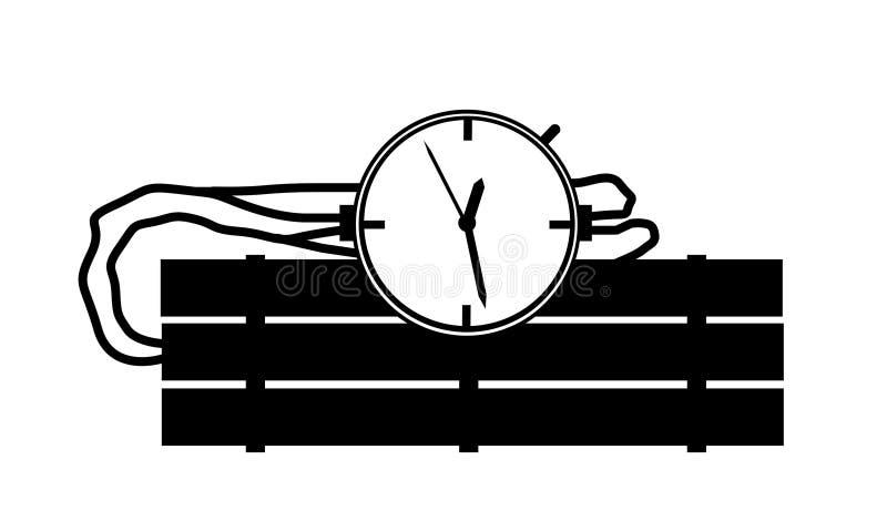 Den svartvita stearinljuspinnen bombarderar illustrationen med klockatidmätaren vektor illustrationer
