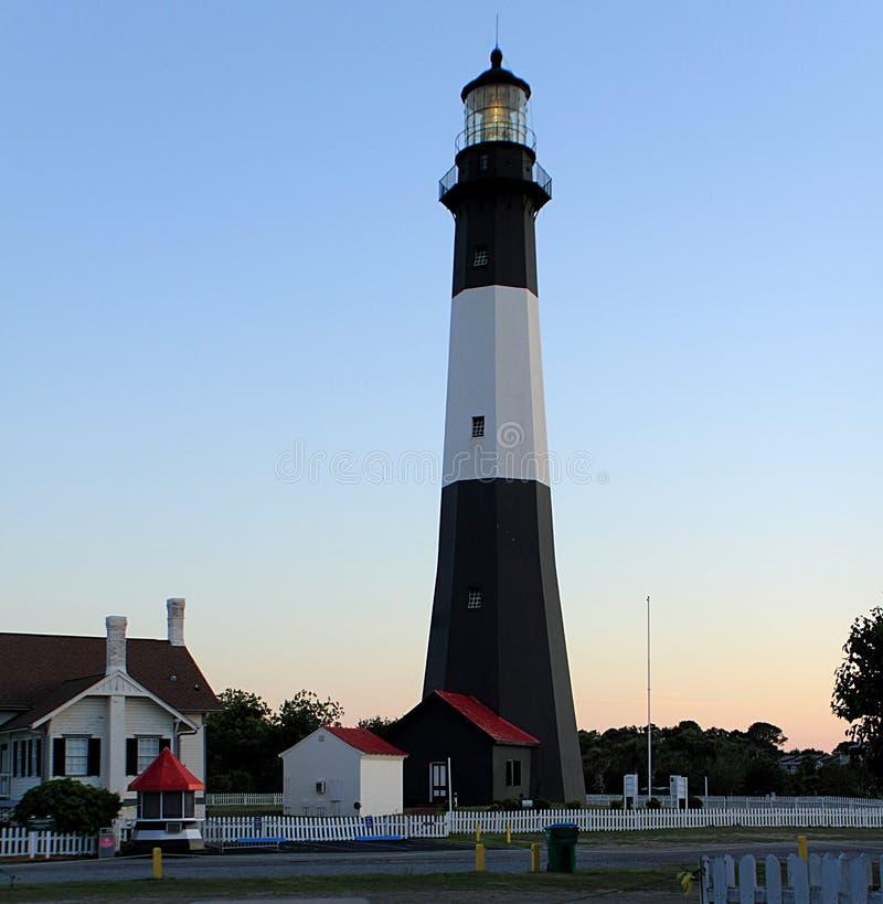 Den svartvita Tybee Island Lighthouse arkivbilder