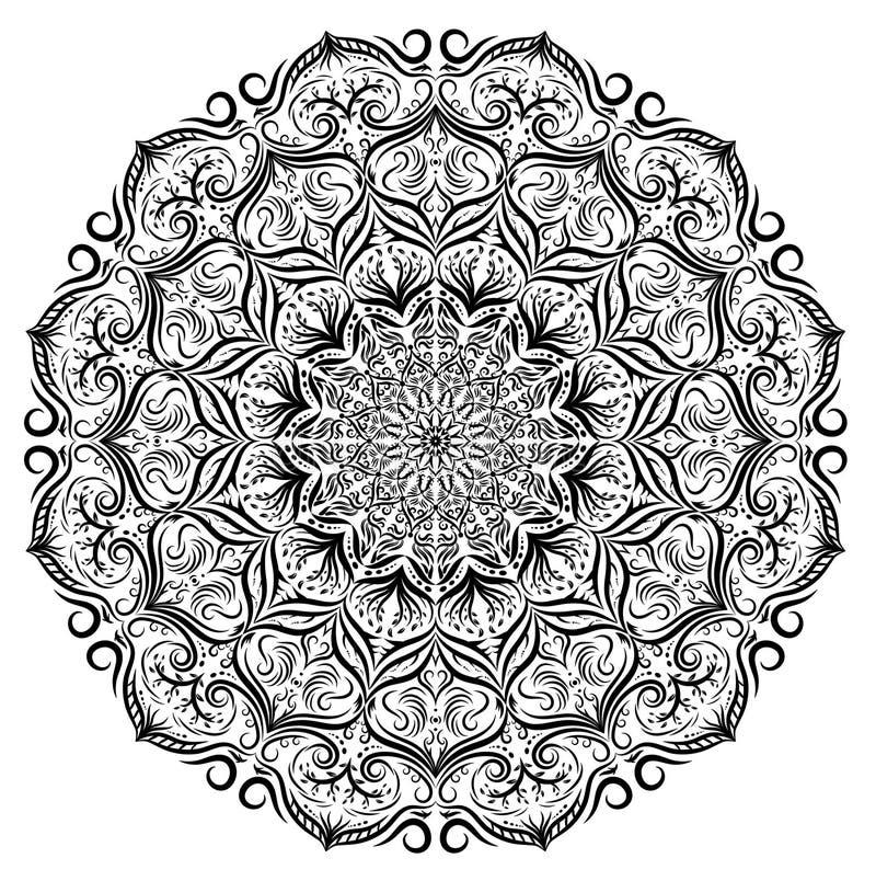 Den svartvita vektormandalaen snör åt blom- modellbakgrund Den monokromma vektorn snör åt mandalaen med blommasidor, blom- prydna stock illustrationer