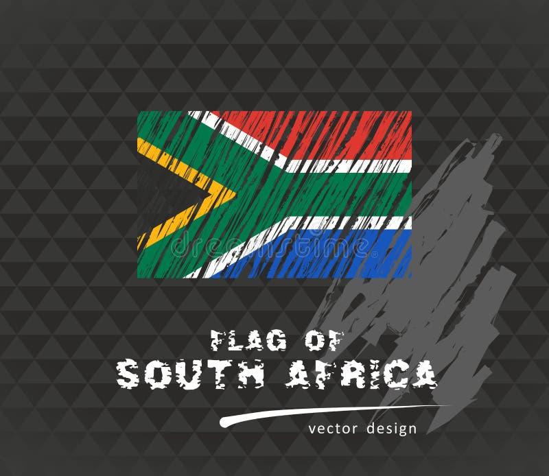 Den Sydafrika flaggan, vektor skissar handen drog illustrationen på mörk grungebakgrund vektor illustrationer