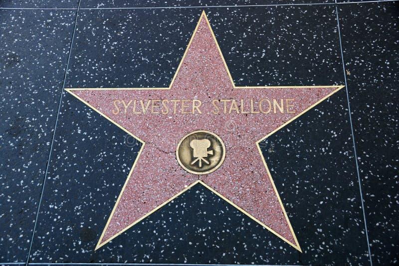 Den Sylvester Stallone stjärnan på Hollywood går av berömmelse royaltyfri foto